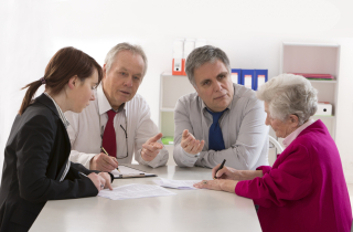Elderly woman with attorney